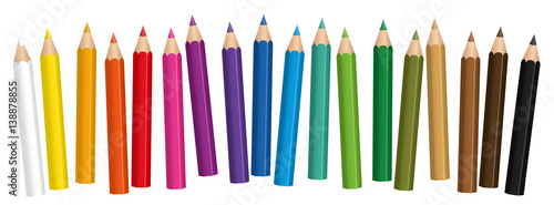 Photo Crayons - small colored pencil collection loosely arranged - isolated vector on white background