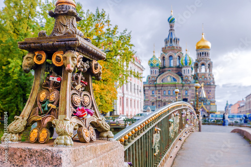 Detail of a bridge in Saint-Petersburg on a background Church of the Savior on Spilled Blood Fototapet