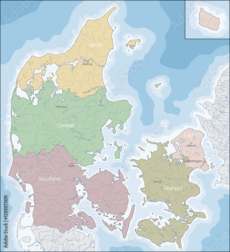 Map of Denmark Canvas Print