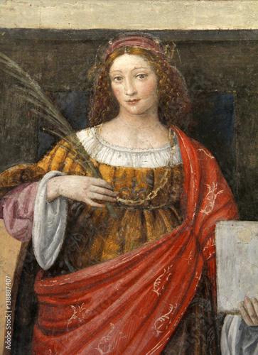 Santa Caterina d'Alessandria; affresco, Chiesa di San Maurizio, Milano Canvas Print