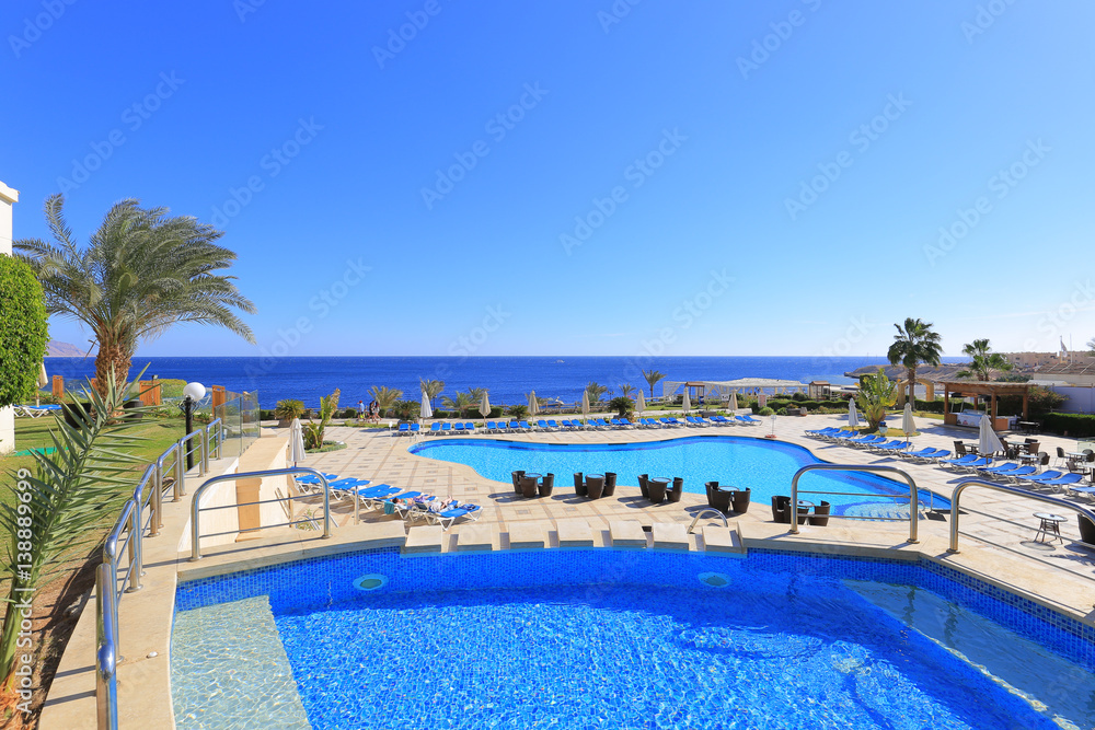 Fototapeta Outdoor swimming pool in Sharm El Sheikh