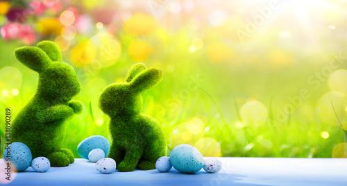 Plakat sztuka Wesołych Świąt Wielkanocnych; rodzinny zajączek i pisanki