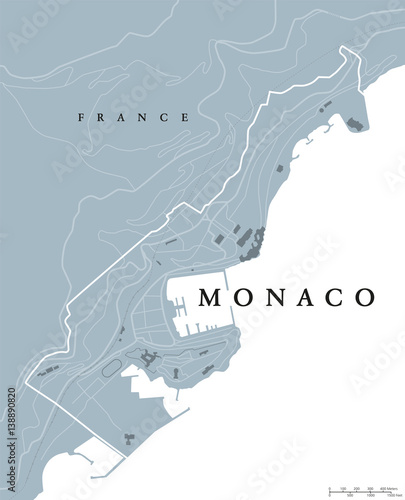 Map Of France French Riviera.Monaco Political Map Principality Sovereign City And Microstate