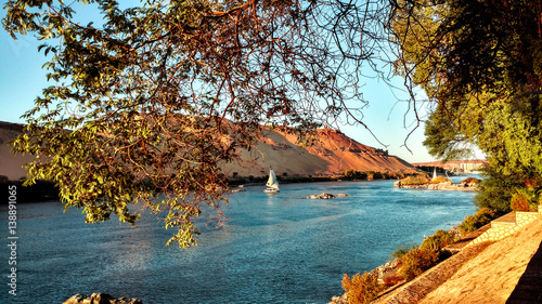 The Nile river banks in Aswan, Egypt Canvas Print