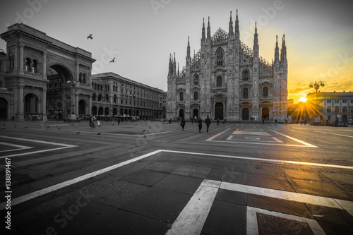 Duomo cathedral with beautiful sunrise flare, Milan. Italy
