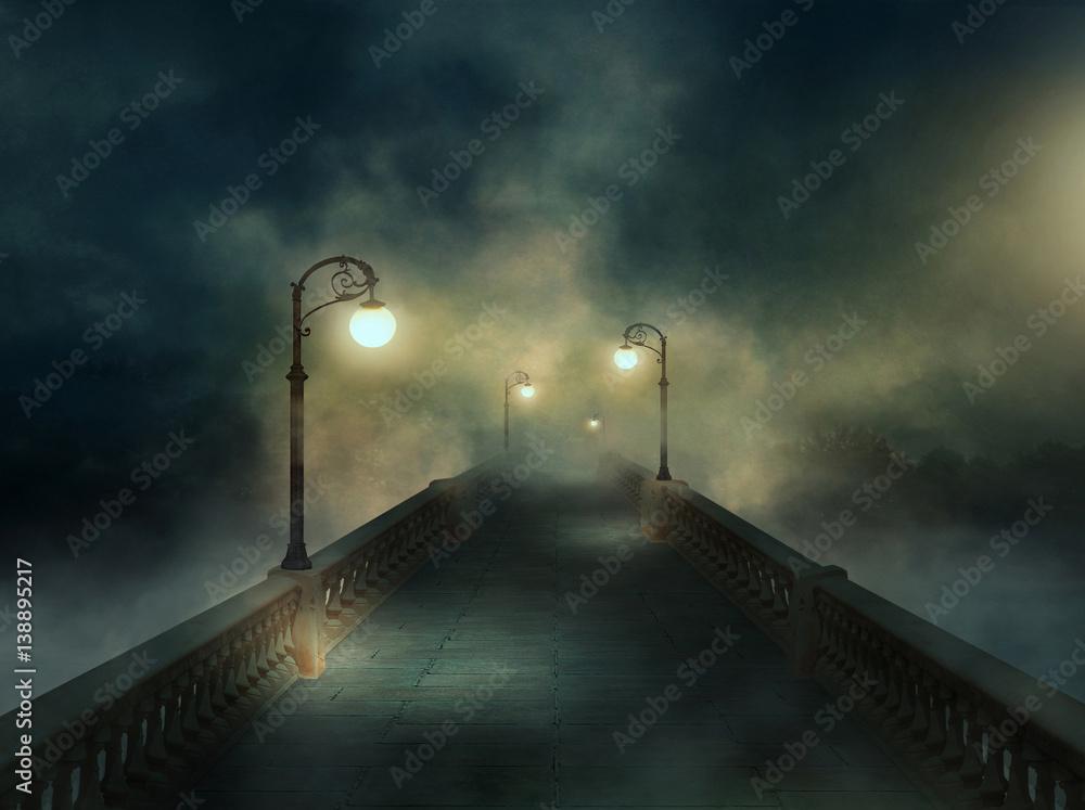 Fototapety, obrazy: Fantasy bridge in the fog