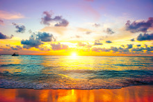 Sunset Beach. Paradise Scene Of Caribbean Island