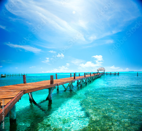 Photo Stands Caribbean Exotic Caribbean island. Travel, tourism or vacations concept. Tropical beach resort