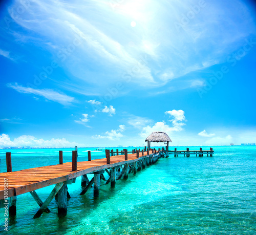 Foto op Plexiglas Caraïben Exotic tropical resort. Jetty near Cancun, Mexico. Travel, Tourism and Vacations Concept