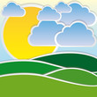 color sun with cloud and mountain icon, vector illustraction design