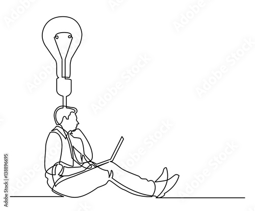 continuous line drawing of businessman sitting thinking about idea Sad Little Girl and Thinking continuous line drawing of businessman sitting thinking about idea