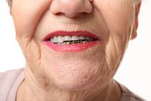 Happy Elderly Woman Smiling, Closeup
