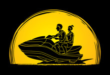 Couple Riding Jet Ski Designed On Moonlight Background Graphic Vector
