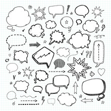 Hand Drawn Set Of Speech Bubbles. Vector Illustration. Handcrafted Elements