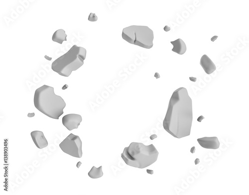 Photo  3d rendering of grey pieces of plaster wall hanging in the air on white background