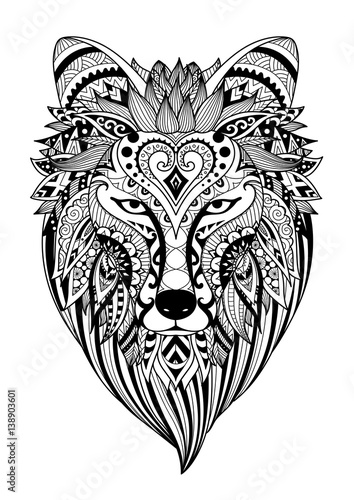 Zendoodle Stylize Of Dire Wolf For Tattoo T Shirt Design Mug