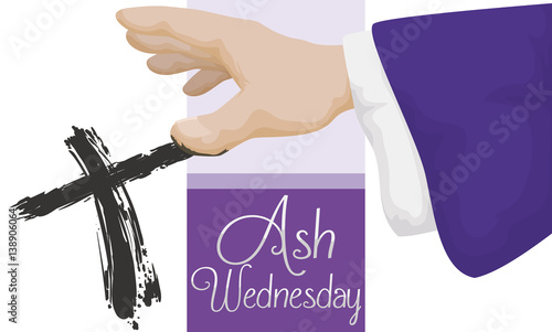 Priest doing the cross signal in ash wednesday vector illustration priest doing the cross signal in ash wednesday vector illustration m4hsunfo