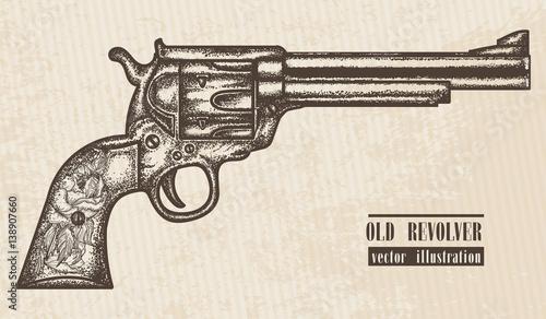 Fotografie, Obraz Gun revolver vintage graphic hand drawn vector