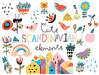 Set of cute scandinavian style elements and animals. Hand drawn vector illustration.