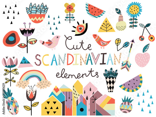 fototapeta na lodówkę Set of cute scandinavian style elements and animals. Hand drawn vector illustration.