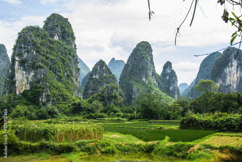 Foto op Plexiglas Guilin Karst mountains and rural scenery in summer