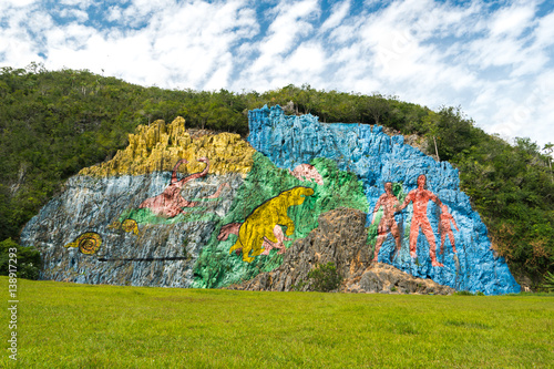 Valley Vinales with famous unusual beautiful colorful picturesque wall in the mo Wallpaper Mural