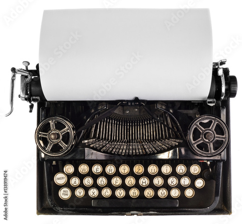 Garden Poster Retro Old antique vintage portable typewriter, with a blank sheet of paper.