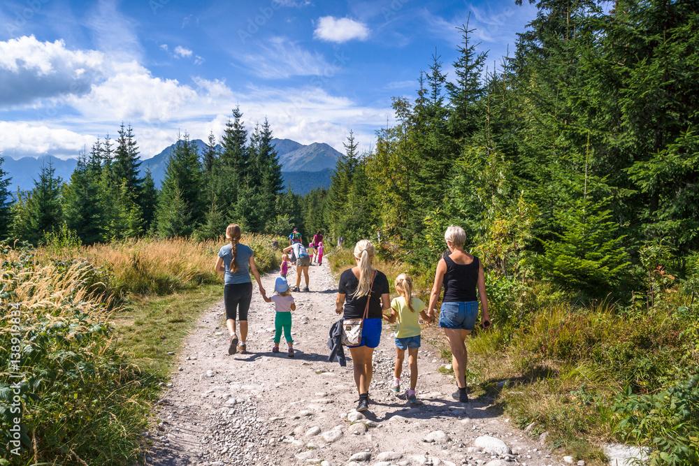 Fototapety, obrazy: Grupa turystów na Tatrzańskim szlaku. Górski szlak z Wierchu Poroniec na Rusinową Polanę
