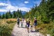 Grupa turystów na Tatrzańskim szlaku. Górski szlak z Wierchu Poroniec na Rusinową Polanę