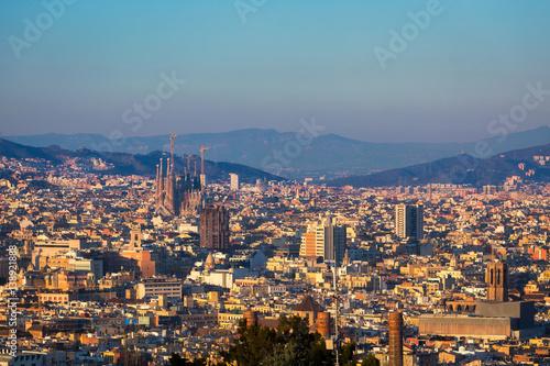 Photo Stands Barcelona Barcelona city skyline with Sagrada familia