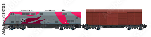 Fotografie, Obraz  Locomotive with Closed Wagon , Train Isolated on White Background, Railway and C
