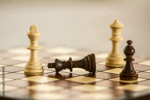 chess figures on chessboard, chess game Canvas Print