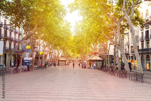 Poster Barcelona La Rambla street. The most popular street in Barcelona early in the morning. Almost empty. Spain