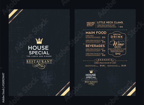 Obraz Creative menu design. Layout design, Design set for menu restaurant. - fototapety do salonu
