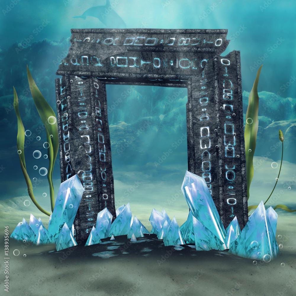 Fototapeta Tajemnicza brama z kryształami na tle podwodnego krajobrazu