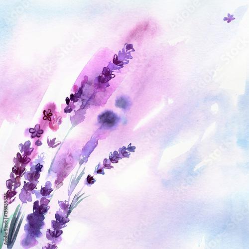 Akwarela ręcznie malowane kwiaty lawendy na białym tle. Zaproszenie. Kartka ślubna. Kartka urodzinowa.