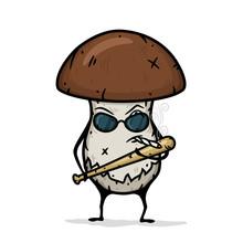 Cartoon Mushroom With A Baseball Bat And Wearing Glasses.