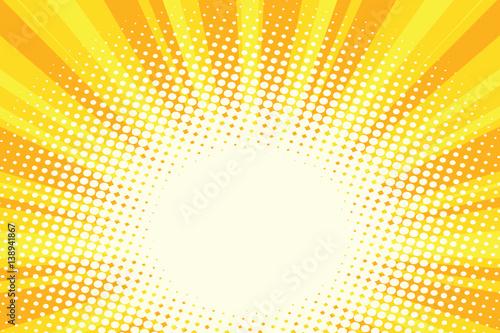 Fotobehang Pop Art Yellow gold cartoon sunrise pop art background
