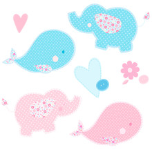 Set Of Patchwork Cute Whales And Elephants Isolated Vector Illustration. Nice Template For Baby Shower, Child Album And Scrapbook. Pink And Blue Colors.