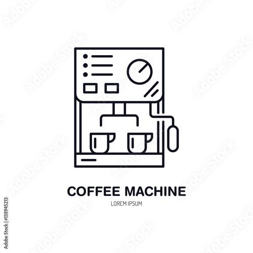 Coffee Machine Vector Line Icon Barista Equipment Linear Logo