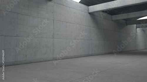 Industrial storehouse with concrete walls and beams