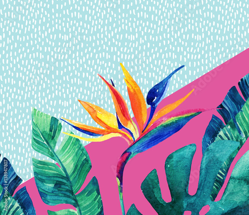 Stickers pour porte Empreintes Graphiques Abstract tropical summer design in minimal style.