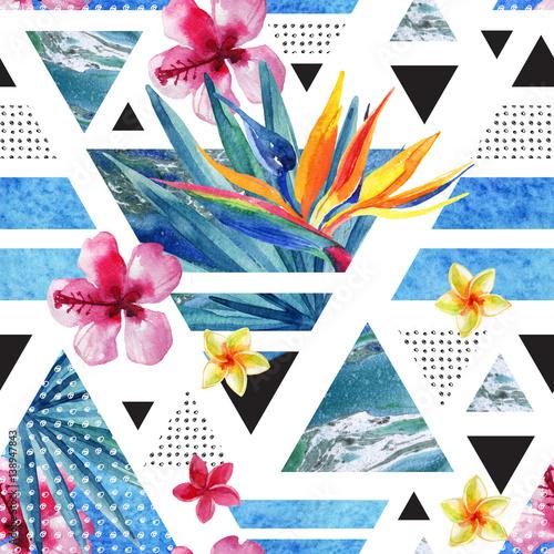 letni-geometryczny-wzor-z-egzotycznymi-kwiatami-abstrakcyjny-styl
