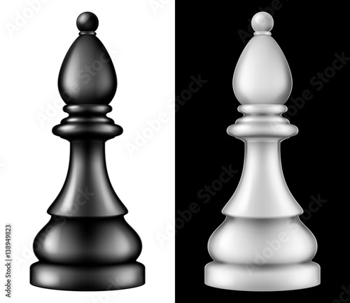 Chess piece Bishop, two versions - white and black. Vector illustration. Wall mural