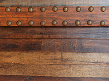 Dark Brown Vintage Wooden Stripped Background With Brass Buttons