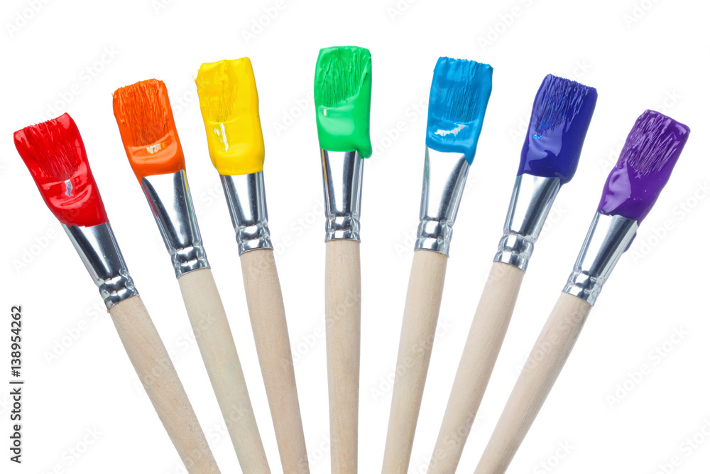 Fototapety, obrazy: Colorful Paint Brushes with the Colors of the Rainbow, simple isolated in white shots