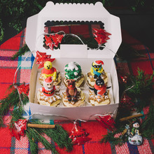 Cupcakes With Snowman, Winnie Pooh, Deer, Minion And Pinguin Stand In White Box