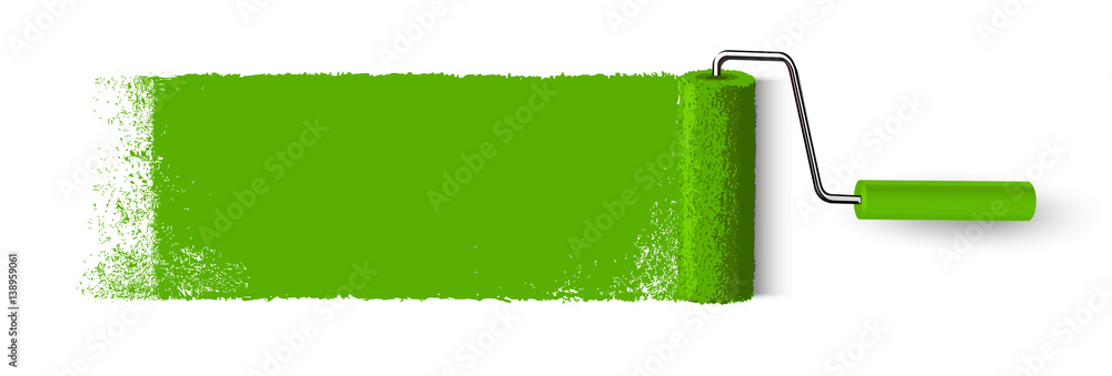 Fototapety, obrazy: Anstrich mit Farbroller Banner - Grüne Fläche mit Textur