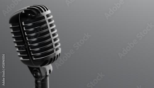 Fotografija  Retro aluminium microphone. 3d render