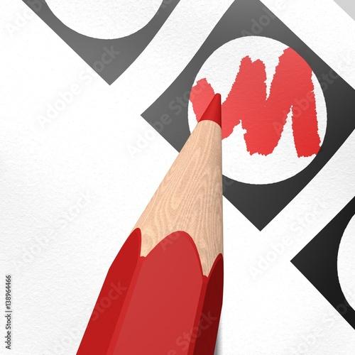 Vakje rood inkleuren Wallpaper Mural